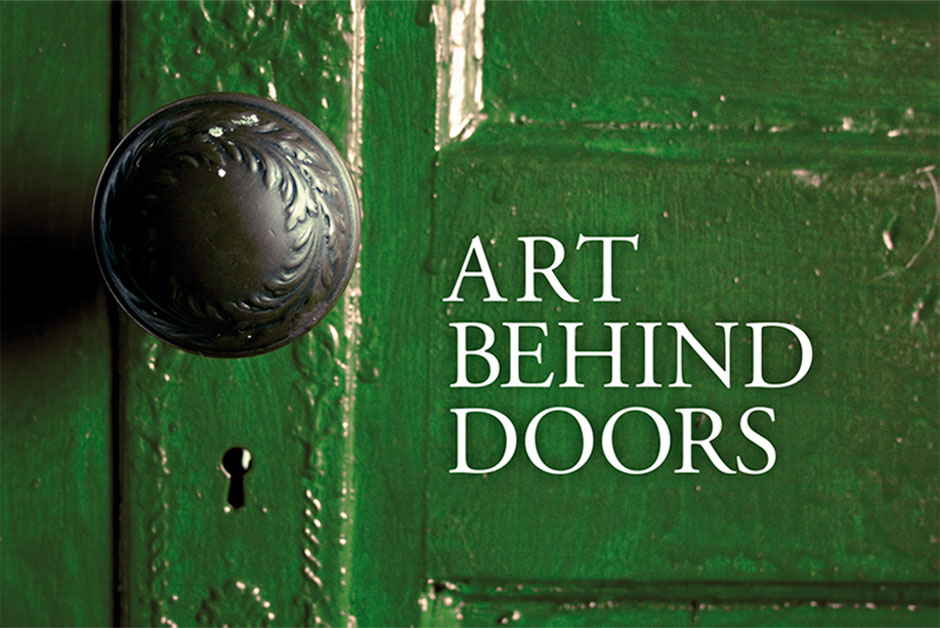 Green door with title Art Behind Doors